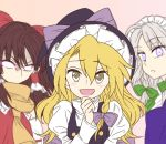 3girls :d @asn398 ascot blonde_hair blurry blush bow braid brown_hair commentary_request eyebrows_visible_through_hair glowing glowing_eyes green_bow green_neckwear hair_between_eyes hair_bow hair_tubes hakurei_reimu hand_on_own_chin hat hat_bow izayoi_sakuya juliet_sleeves kirisame_marisa long_hair long_sleeves looking_at_viewer maid_headdress multiple_girls open_mouth parted_lips puffy_sleeves purple_bow red_bow scarf short_hair silver_hair single_braid smile touhou upper_body v-shaped_eyebrows violet_eyes witch_hat yellow_eyes yellow_neckwear yellow_scarf