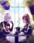 2boys armor brown_hair closed_eyes coffee fingerless_gloves gloves granblue_fantasy hanging_plant highres lucifer_(shingeki_no_bahamut) male_focus multiple_boys myusha sandalphon_(granblue_fantasy) short_hair smile table white_hair