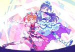 2girls artist_request blue_eyes blue_hair blush boots cosplay cure_amour cure_amour_(cosplay) cure_black cure_macherie cure_macherie_(cosplay) cure_white dress earrings eyelashes futari_wa_precure gloves hair_ornament happy highres hugtto!_precure jewelry long_hair looking_at_viewer magical_girl misumi_nagisa multiple_girls orange_hair pose precure short_hair smile source_request white_gloves yellow_eyes yukishiro_honoka