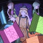 3girls :d armchair aura bangs blonde_hair blunt_bangs brown_hair chair constellation_print detached_sleeves doors dress ear ears english green_dress green_eyes green_hair green_skirt hat head_rest hidden_star_in_four_seasons long_hair long_skirt looking_at_viewer matara_okina mefomefo multiple_girls nishida_satono open_hand open_mouth parted_bangs pink_dress short_hair_with_long_locks sitting skirt smile tabard teireida_mai touhou undershirt wide_sleeves yellow_eyes