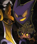 :o :| aegislash closed_mouth clouds commentary evil_smile expressionless fangs floating full_moon ghost halloween haunter highres holding looking_at_viewer looking_away moon night night_sky no_humans open_mouth pokemon pokemon_(creature) pokemon_(game) pokemon_rgby pokemon_xy pumpkaboo rock-bomber signature sitting sky smile violet_eyes yellow_eyes