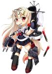 1girl animalization black_ribbon blonde_hair bullet crossover fang horse horse_ears kantai_collection my_little_pony my_little_pony_friendship_is_magic no_humans parody pony red_eyes ribbon school_uniform tagme weapon yuudachi_(kantai_collection)