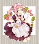 1girl :d alternate_costume apron blush enmaided eyebrows_visible_through_hair food fruit full_body hair_bobbles hair_ornament heart heart_hands highres jumping kantai_collection kona_(mmmkona) long_hair maid maid_apron maid_headdress necktie open_mouth petticoat pink_eyes pink_hair rabbit red_neckwear sazanami_(kantai_collection) smile solo strawberry twintails white_apron wrist_cuffs