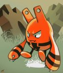 black_eyes claws closed_mouth commentary dated elekid field frown full_body gears grass grey_background looking_away no_humans pokemon pokemon_(creature) pokemon_(game) pokemon_gsc rock-bomber signature solo