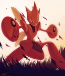 commentary dated full_body grass legs_apart looking_at_viewer no_humans orange_eyes outstretched_arms pink_background pokemon pokemon_(creature) pokemon_(game) pokemon_gsc red_skin rock-bomber scizor signature simple_background solo standing wings