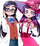 2girls black-framed_eyewear blue_eyes blue_neckwear bow bowtie closed_mouth futari_wa_precure glasses hair_ornament hairclip hat izayoi_liko long_hair looking_at_viewer mahou_girls_precure! manji_(tenketsu) multiple_girls open_mouth pink_eyes pink_neckwear precure purple_hair simple_background sketch smile white_background witch_hat yukishiro_honoka