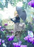 1girl blue_eyes brown_gloves day dress droplets fence flower gate gloves grey_umbrella house looking_at_viewer looking_back outdoors over_shoulder scenery solo standing umbrella violet_evergarden violet_evergarden_(character) white_dress wuming_yaoguai