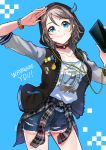 1girl blue_background blue_eyes bracelet character_name choker clothes_around_waist cowboy_shot denim denim_shorts earphones earphones grey_hair hood hood_up hooded_jacket horns hyugo jacket jewelry love_live! love_live!_sunshine!! o-ring_choker pin plaid plaid_shirt print_shirt salute shirt shirt_around_waist short_hair short_shorts shorts smile solo watanabe_you