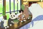 bear bird black_hair bowl character_request choko_(20040421) cup glass kamiya_hiroshi levi_(shingeki_no_kyojin) panda panda_(shirokuma_cafe) penguin penguin_(shirokuma_cafe) polar_bear scarf seiyuu_connection shingeki_no_kyojin shirokuma_(shirokuma_cafe) shirokuma_cafe short_hair teacup