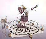 2girls book circuit_board hat hexagram highres laser_beam magic_circle multiple_girls open_book original sukabu tagme wand witch_hat