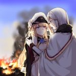 2girls azur_lane bangs black_coat blonde_hair blue_eyes blurry blurry_background breasts burning chains cleavage commentary_request dressing_another eyelashes fiery_background fire flower_ornament fur_trim gloves hair_ornament hat hat_removed headwear_removed highres holding holding_hat long_hair military military_uniform multiple_girls outdoors peaked_cap ribbon silver_hair smile smoke tirpitz_(azur_lane) uniform veil very_long_hair victorious_(azur_lane) white_coat white_gloves white_hat wrist_ribbon xun_yu_(1184527191)