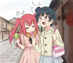 2girls alternate_hair_length alternate_hairstyle bag bangs beamed_quavers blue_hair blunt_bangs blush building buttons closed_eyes dress eating food holding holding_food ice_cream_cone kurosawa_ruby long_sleeves love_live! love_live!_sunshine!! multiple_girls musical_note open_mouth pink_dress pink_eyes redhead ru_yue_kong short_hair short_sleeves shoulder_bag side_bun skirt tsushima_yoshiko two_side_up