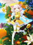 1girl :d animal_ears belt boots bow buck_teeth clouds cross-laced_footwear dress eyebrows_visible_through_hair feathers flower food frilled_dress frills fruit full_body gloves hat hinare_(hinare777) holding holding_sword holding_weapon knee_boots lace-up_boots leaf mouse_ears mouse_tail open_mouth orange original pantyhose puffy_sleeves rapier short_hair sky smile solo sword tail tassel weapon whiskers white_footwear white_gloves white_hair white_legwear yellow_bow yellow_dress yellow_eyes yellow_hat