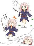 arito_arayuru blue_eyes dreaming fate_(series) holding_stick japanese_clothes kimono long_hair miyamoto_musashi_(fate/grand_order) open_mouth sleeping smile