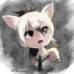 1girl aardwolf_(kemono_friends) aardwolf_ears animal_ears artist_name bare_shoulders black_hair black_neckwear elbow_gloves extra_ears eyebrows_visible_through_hair gloves hair_between_eyes kemono_friends logo long_hair looking_up multicolored_hair necktie open_mouth panzuban parody ponytail reflective_eyes shirt sleeveless sleeveless_shirt solo splatoon super_smash_bros. twitter_username two-tone_hair upper_body white_hair