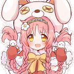 1girl akane_mimi animal_hood braid bunny_hood flower gloves hair_bobbles hair_ornament headband hood pink_hair princess_connect! ribbon rutakun twin_braids yellow_eyes