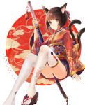 1girl animal_ears bell brown_eyes brown_hair cat_ears cat_tail floral_print foot_out_of_frame geta hair_bell hair_ornament japanese_clothes jingle_bell katana kimono looking_at_viewer mole mole_under_eye multiple_tails original ramune. sheath sheathed short_hair sword tail thighs two_tails weapon white_legwear wide_sleeves