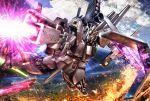 attack battle bazooka beam_rifle char's_counterattack emblem energy_gun fin_funnels firing funnels gundam hiropon_(tasogare_no_puu) insignia mecha no_humans nu_gundam shield weapon