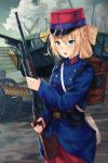 1girl backpack bag belt blonde_hair blush bullet clouds green_eyes ground_vehicle gun hair_ornament highres karo-chan kepi light_machine_gun load_bearing_equipment long_hair m1909 machine_gun military military_vehicle motor_vehicle original saint_chamond sky soldier tank war weapon world_war_i x_hair_ornament