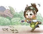 +++ 1girl :3 anjanath book boots brown_hair bush capelet chamaji commentary_request fingerless_gloves footprints gloves goggles goggles_on_head handler_(monster_hunter_world) highres long_sleeves monster_hunter monster_hunter:_world open_mouth outdoors outstretched_arms short_hair sparkle