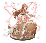 1girl arm_ribbon asuna_(sao) bow bowtie breasts brown_eyes brown_hair faux_figurine floating_hair floral_print flower full_body hair_flower hair_ornament holding holding_weapon layered_skirt long_hair looking_at_viewer medium_breasts midriff navel pink_flower polearm red_bow red_neckwear red_ribbon ribbon simple_background smile solo standing stomach sword_art_online thigh-highs thigh_strap very_long_hair weapon white_background