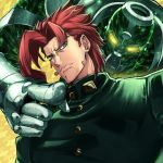 1boy argyle argyle_background earrings frown glowing glowing_eyes green_eyes hierophant_green jewelry jojo_no_kimyou_na_bouken kakyouin_noriaki lips looking_at_viewer male_focus patterned_background pointing redhead school_uniform sekiyu_(spartan) solo sparkle stand_(jojo) stardust_crusaders yellow_background