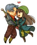 1boy 1girl ;d belt black_eyes black_hair blue_eyes blue_hair boots chibi coat commentary couple dragon_ball dragon_ball_super eyebrows_visible_through_hair gloves happy hat heart hetero jacket kerchief long_hair mai_(dragon_ball) one_eye_closed open_mouth pants short_hair simple_background smile sword trunks_(dragon_ball) weapon white_background