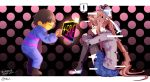 1girl =_= androgynous background bangs black_background black_legwear blue_skirt blush bow breasts brown_hair closed_mouth commentary_request crossover doki_doki_literature_club eyebrows_visible_through_hair fetal_position frisk_(undertale) full_body glitch gradient gradient_background green_eyes hair_bow knees_up leaning_forward leg_hug long_hair long_sleeves looking_at_another medium_breasts monika_(doki_doki_literature_club) nan nose_blush outstretched_arm pink_background pleated_skirt polka_dot polka_dot_background ponytail ribbon school_uniform shirt shoes sidelocks signature simple_background sitting skirt speech_bubble spoilers standing striped striped_sweater sweater tearing_up tears thigh-highs undertale uwabaki white_footwear yellow_skin