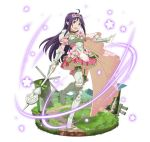 1girl :d ahoge armor armored_boots armored_dress boots breasts choker dress faux_figurine floating_hair flower full_body garter_straps green_ribbon hair_flower hair_ornament headdress holding holding_weapon long_hair open_mouth outstretched_arm pink_dress pink_flower pleated_dress pointy_ears polearm purple_hair red_eyes ribbon ribbon_choker short_dress simple_background small_breasts smile solo spaulders standing standing_on_one_leg sword_art_online thigh-highs thigh_boots very_long_hair weapon white_background yuuki_(sao)