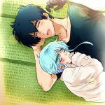 blue_hair family father_and_son jigoku_sensei_nube male nueno_meisuke sleeping