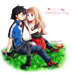 1boy 1girl ashujou black_hair blush box chocolate couple gift gift_box grass happy_valentine hat hat_removed headwear_removed hetero highres long_hair looking_at_another no_hat no_headwear pokemon pokemon_(anime) red_skirt satoshi_(pokemon) serena_(pokemon) simple_background sitting sitting_on_lap sitting_on_person skirt smile valentine