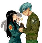 1boy 1girl :o black_eyes black_hair blue_eyes blue_hair blush capsule_corp coat couple dirty dirty_clothes dirty_face dragon_ball dragon_ball_super embarrassed expressionless eye_contact eyebrows_visible_through_hair gloves green_shirt hand_holding hands_together hetero long_hair long_sleeves looking_at_another mai_(dragon_ball) pants shirt short_hair simple_background standing surprised sweat sweatdrop transparent_background trunks_(dragon_ball)
