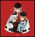 3girls annin_musou black_hat black_sailor_collar black_skirt blue_eyes brown_eyes commentary_request facial_scar flat_cap gangut_(kantai_collection) grey_hair grin hair_ornament hairclip hammer_and_sickle hat hibiki_(kantai_collection) highres kantai_collection long_hair looking_at_viewer mouth_hold multiple_girls peaked_cap pipe red_background red_eyes red_shirt sailor_collar scar scar_on_cheek school_uniform serafuku shirt silver_hair skirt smile tashkent_(kantai_collection) verniy_(kantai_collection)