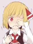 1girl ascot black_vest blonde_hair collared_shirt commentary_request crying crying_with_eyes_open eyebrows_visible_through_hair frown hair_ribbon jagabutter looking_at_viewer red_eyes red_neckwear red_ribbon ribbon rumia shirt short_hair sleeves_past_wrists snort sobbing solo teardrop tears touhou trembling upper_body vest white_shirt wiping_tears