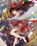1girl architecture bell bent_knee bow bridge brown_eyes brown_hair cherry_blossoms commentary_request derivative_work detached_sleeves dl4544 east_asian_architecture floral_print foot_out_of_frame frilled_hair_tubes fuji_choko gohei hair_bow hair_tubes hakurei_reimu highres holding jingle_bell kirisame_marisa lantern layered_skirt long_hair looking_at_viewer midriff ofuda petals pillar red_bow red_shirt red_skirt ribbon rooftop sandals shirt skirt smile solo stairs torii touhou window
