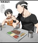 1boy 1girl :t abekawa_kippei_(kamezaemon) artist_name black_hair black_shirt blue_eyes breasts cleavage closed_mouth collarbone color_bullets copyright_name cup danielle_redford_(kamezaemon) drink eating food ground_vehicle highres holding jewelry kamezaemon letterboxed medium_breasts military military_vehicle motor_vehicle multicolored_hair necklace open_mouth original pendant sanpaku shirt short_hair short_sleeves simple_background sleeveless speech_bubble spoon streaked_hair surprised table tank teeth translation_request upper_body white_background white_hair wide-eyed