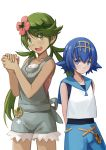 2girls :d arms_behind_back bangs bare_arms bare_shoulders blue_hair blue_sailor_collar blue_shorts blush collarbone cowboy_shot cutoffs dark_skin expressionless eyebrows_visible_through_hair flower green_eyes green_hair hair_flower hair_ornament headband height_difference highres long_hair looking_at_viewer low_twintails mao_(pokemon) multiple_girls open_mouth overall_shorts own_hands_together pokemon pokemon_(game) pokemon_sm redpoke round_teeth sailor_collar shirt short_hair shorts simple_background sleeveless sleeveless_shirt smile standing suiren_(pokemon) swept_bangs swimsuit swimsuit_under_clothes tareme teeth twintails white_background white_shirt