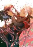 1boy 1girl amakusa_shirou_(fate) bare_shoulders black_dress black_hair black_shirt brown_eyes cape closed_eyes commentary_request dark_skin detached_sleeves dress fate/apocrypha fate_(series) fur_trim hand_in_another's_hair long_hair long_sleeves parted_lips petals red_cape ryuuki_(hydrangea) semiramis_(fate) shirt silver_hair sleeveless sleeveless_dress sleeves_past_wrists spikes twitter_username very_long_hair