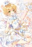 1girl :d animal bangs bird blush card_captor_sakura clear_card commentary dove dress eyebrows_visible_through_hair gloves green_eyes hair_between_eyes high_heels holding holding_wand kinomoto_sakura light_brown_hair looking_at_viewer open_mouth pingo sleeveless sleeveless_dress smile solo wand white_dress white_footwear white_gloves white_wings wings yume_no_tsue