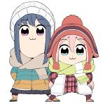2girls :3 aikawa_ryou arms_behind_back beanie black_skirt blue_eyes blue_hair blue_shorts brown_footwear brown_hat brown_legwear brown_scarf closed_mouth commentary_request fringe fur-trimmed_boots fur_trim green_scarf hat jacket kagamihara_nadeshiko long_sleeves looking_at_viewer multiple_girls pantyhose parody pink_hair plaid plaid_jacket pleated_skirt poptepipic red_jacket scarf shima_rin short_shorts shorts sidelocks simple_background skirt standing style_parody vest violet_eyes white_background white_hat white_vest yurucamp
