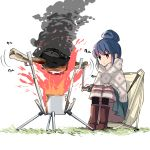 1girl barashiya blue_hair boned_meat boots brown_footwear camping chair commentary_request cooking expressionless fire food full_body hair_bun highres knee_boots long_skirt meat monster_hunter motion_lines poncho shima_rin short_hair sidelocks simple_background sitting skirt smoke solo spinning violet_eyes white_background you're_doing_it_wrong yurucamp