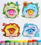 4girls aqua_eyes autumn autumn_leaves bird blue_sky butterfly clouds commentary day english eyebrows eyelashes eyes flower freckles grey_background ice larienne leaf looking_at_viewer marker marker_(medium) mixed_media multicolored multiple_girls mushroom orange_eyes original petals pink_eyes plant rock seasons signature simple_background sky spring_(season) summer sunflower traditional_media vines watermark web_address winter yellow_eyes