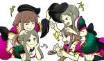 !? 2girls black_bow black_hat bow breath brown_hair closed_eyes dress frills green_dress green_eyes grin hand_on_another's_head hat head_rest looking_at_another lying multiple_girls multiple_views nishida_satono on_person on_stomach open_mouth purple_dress red_ribbon ribbon short_sleeves smile taeshiru tate_eboshi teireida_mai touhou upper_body violet_eyes yellow_ribbon