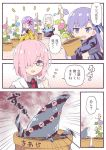 4girls blue_bow blue_flower bow comic demon_pillar_(fate/grand_order) fate/grand_order fate_(series) flower glasses habit hair_bow hair_over_one_eye holding_pot leaf long_sleeves mash_kyrielight meltlilith multiple_girls navel necktie open_mouth passion_lip pink_bow pink_flower pink_hair plant pot potted_plant purple_flower red_neckwear rioshi sesshouin_kiara short_hair sleeves_past_fingers sleeves_past_wrists translated vines violet_eyes watering_can