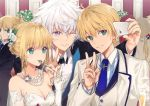 2boys 2girls ;) ahoge artoria_pendragon_(all) bangs bare_shoulders black_jacket blonde_hair blue_neckwear breasts cellphone cleavage collared_shirt cup dangmill dress drinking_glass earrings elbow_gloves eyebrows_visible_through_hair fate_(series) flower fork formal gloves green_eyes hair_flower hair_ornament holding holding_phone indoors jacket jewelry long_sleeves medium_breasts merlin_(fate/stay_night) mouth_hold multiple_boys multiple_girls necklace necktie one_eye_closed open_clothes open_jacket pearl_necklace phone ponytail rose saber saber_(fate/prototype) shiny shiny_hair shirt sidelocks silver_hair smartphone smile strapless strapless_dress striped striped_shirt suit taking_picture upper_body v vertical-striped_shirt vertical_stripes violet_eyes white_dress white_flower white_gloves white_jacket white_rose white_shirt wing_collar