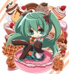 1girl :t aosaki_yato black_bow black_footwear black_skirt boots bow checkerboard_cookie cherry chibi cookie detached_sleeves doughnut eating food food_on_face fruit full_body green_eyes green_hair hair_bow hatsune_miku highres holding holding_food ice_cream long_hair macaron mont_blanc_(food) pancake parfait pie pudding sitting skirt solo strawberry strawberry_shortcake thigh-highs thigh_boots twintails vocaloid waffle whipped_cream