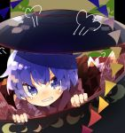 1girl angry bow bowl bowl_hat commentary fingers hat highres japanese_clothes kimono needle nikorashi-ka purple_hair red_kimono short_hair solo sukuna_shinmyoumaru tears teeth touhou violet_eyes