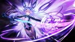 1girl absurdres armor armored_boots blue_eyes bodysuit boots breasts covered_navel drawing_sword energy_sword gauntlets hair_between_eyes headgear highres holding holding_sword holding_weapon large_breasts long_hair looking_at_viewer materializing multiple_wings neptune_(series) next_purple power_symbol purple_hair purple_heart shin_jigen_game_neptune_vii skin_tight smile solo sword symbol-shaped_pupils twintails very_long_hair weapon wings zhuore_zhi_hen