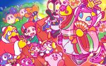 3boys 4girls adeleine backwards_hat baseball_cap black_hair blue_sclera bow bush commentary_request elline_(kirby) flower flying_sweatdrops hat hinamatsuri japanese_clothes jitome king_dedede kirby kirby_(series) lalala_(kirby) lololo_(kirby) mask meta_knight multicolored_hair multiple_boys multiple_girls nintendo official_art pink_hair red_hat red_robe robe short_hair smirror sparkle spotlight susie_(kirby) sweatdrop tate_eboshi tick_tock_jr. video_camera waddle_dee wizard_hat yellow_bow