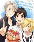 3boys anniversary black_hair blonde_hair blue_eyes bouquet brown_eyes collared_shirt flower green_eyes hair_over_one_eye katsuki_yuuri male_focus multiple_boys one_eye_closed open_mouth shirt silver_hair smile suspenders twc_(p-towaco) viktor_nikiforov yuri!!!_on_ice yuri_plisetsky